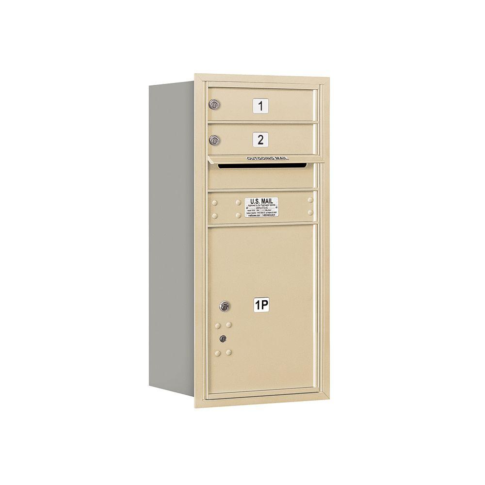 Salsbury Industries 3700 Series 34 in. 9 Door High Unit Sandstone USPS Rear Loading 4C Horizontal Mailbox with 2 MB1 Doors/1 PL5