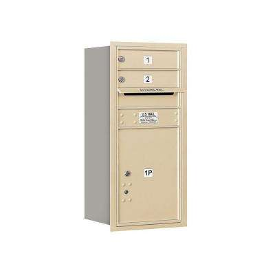 3700 Series 34 in. 9 Door High Unit Sandstone USPS Rear Loading 4C Horizontal Mailbox with 2 MB1 Doors/1 PL5