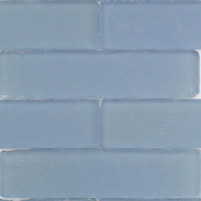 Ocean Cloud Beached 2 in. x 8 in. x 8 mm Frosted Glass Subway Tile (36 pieces 4 sq.ft./Box)