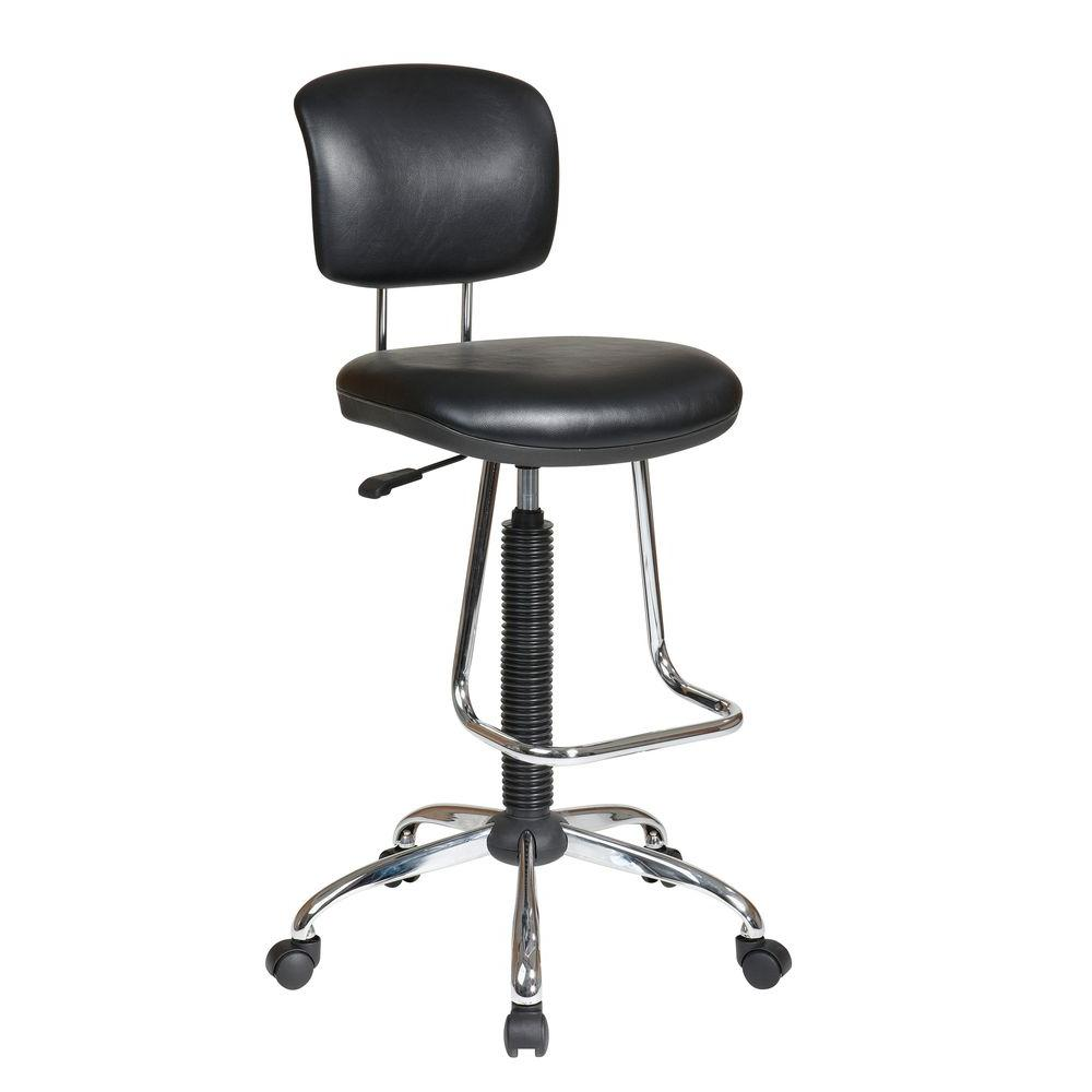 Work Smart Black Vinyl Drafting Chair Dc420v 3 The Home