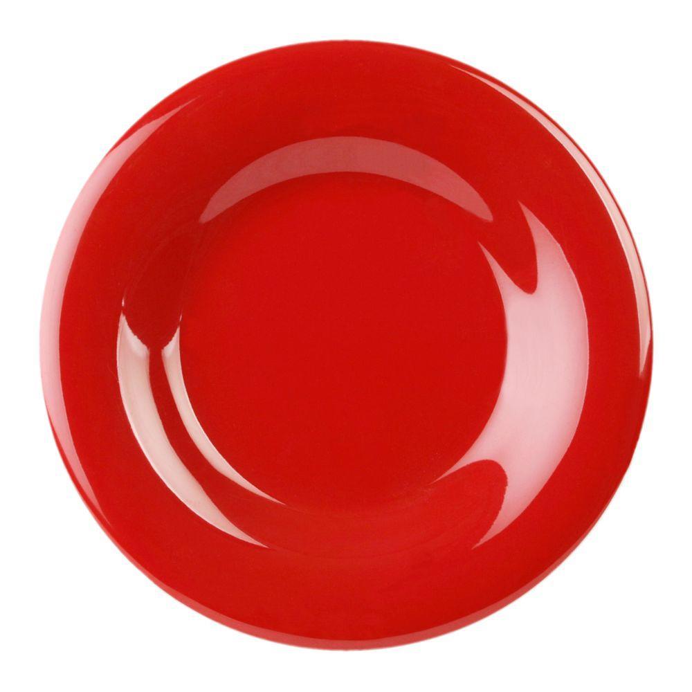 Coleur 6-1/2 in. Wide Rim Plate in Pure Red (12-Piece)