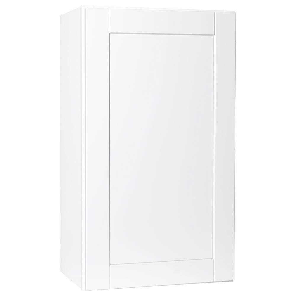 Hampton Bay Shaker Assembled 21x36x12 in. Wall Kitchen Cabinet in Satin White