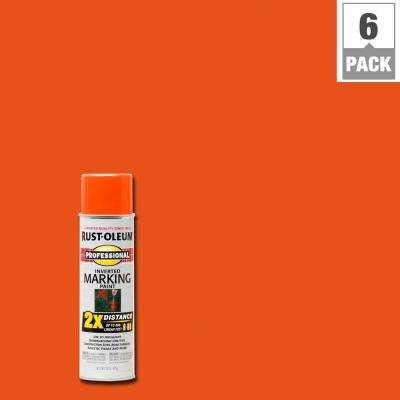 15 oz. Fluorescent Red-Orange 2X Distance Inverted Marking Spray Paint (6-Pack)