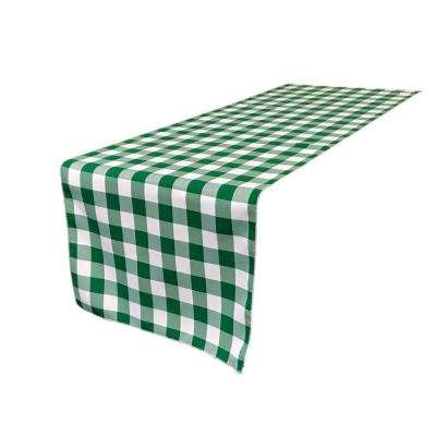 14 in. x 108 in. White and Hunter Green Table Runner Polyester Gingham Checkered