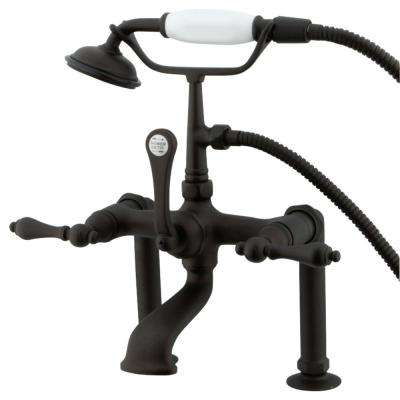 Traditional 3-Handle Deck-Mount High-Risers Claw Foot Tub Faucet with Handshower in Oil Rubbed Bronze