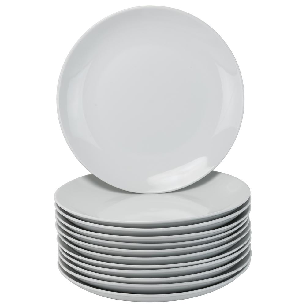 10.5 in. White Catering Pack Coupe Dinner Plates (Set of 12)
