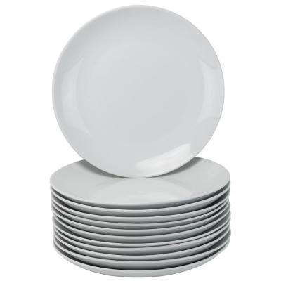 12-Piece Casual White Porcelain Dinnerware Set