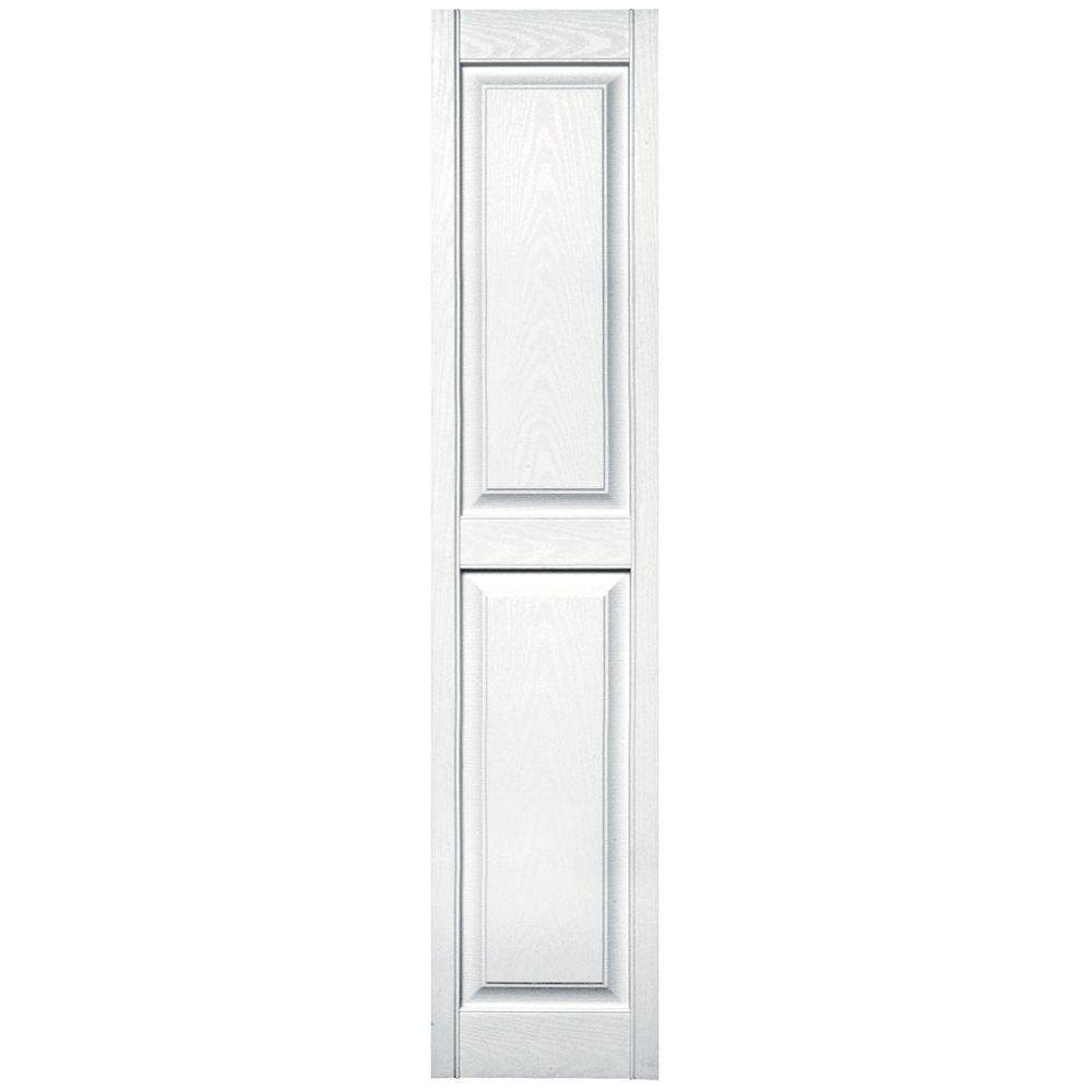 Builders edge 15 in x 71 in raised panel vinyl exterior shutters pair in 001 white for Raised panel exterior shutters