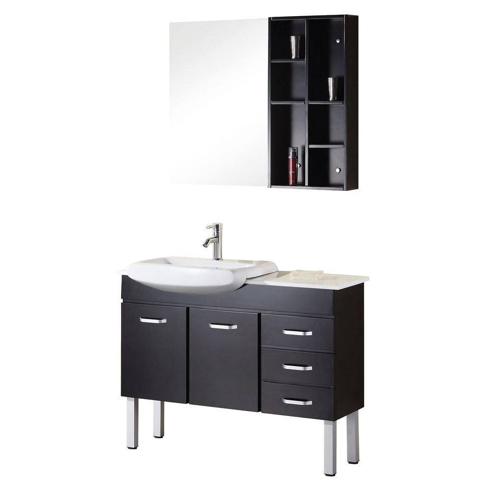 Design Element Tustin 43 in. Vanity in Espresso with Composite Stone Vanity Top in White and Mirror