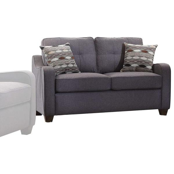 Contemporary 3-Seat Gray Linen Upholstered Wooden Sofa with Two Pillows