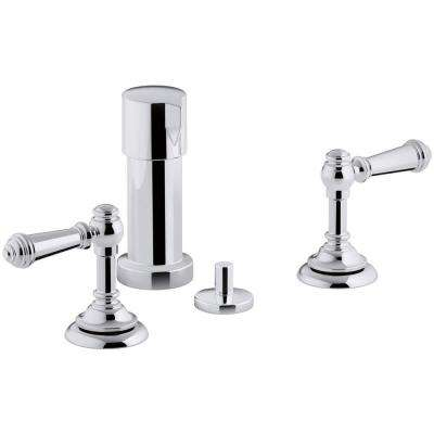 Artifacts Lever 2-Handle Bidet Faucet in Polished Chrome