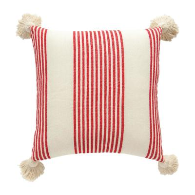 Red Striped Cotton and Chenille 20 in. x 20 in. Throw Pillow