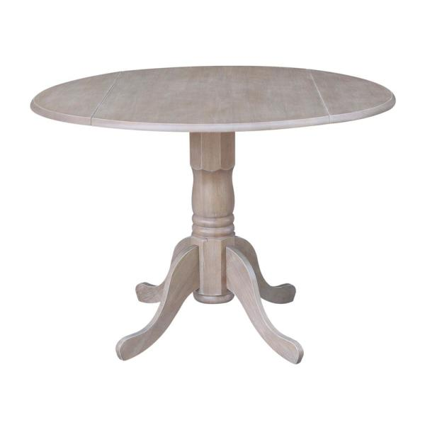 International Concepts 42 In Weathered Taupe Gray Drop Leaf Dining Table T09 42dp The Home Depot