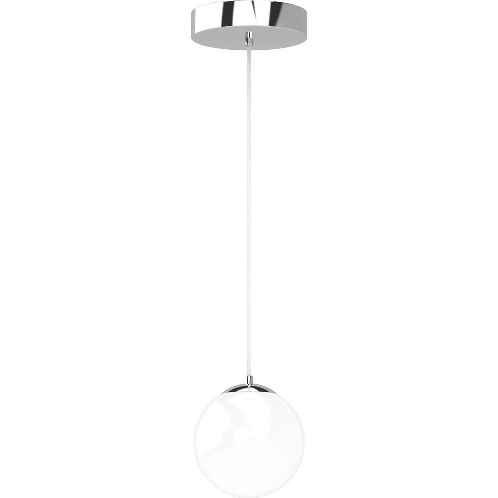Preston 7 Watt 1 Light Chrome Indoor Integrated Led Mini Hanging Pendant W Etched White Cased Gl Round Sphere Shade