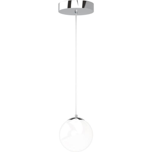 Preston 7-Watt 1-Light Chrome Indoor Integrated LED Mini Hanging Pendant w/ Etched White Cased Glass Round Sphere Shade