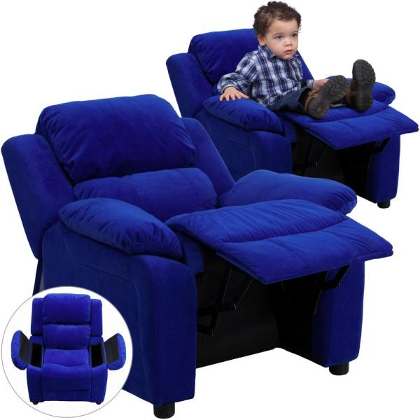 Flash Furniture Deluxe Padded Contemporary Blue Microfiber Kids Recliner with