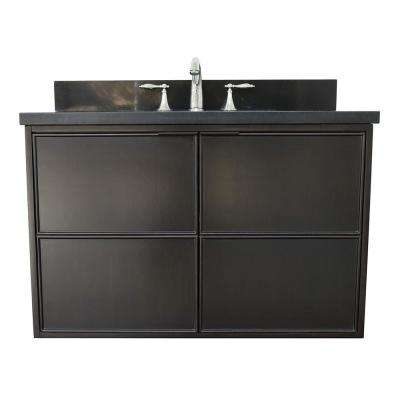 Scandi IV 37 in. W x 22 in. D Wallmount Bath Vanity in Cappuccino with Granite Vanity Top in Black with White Oval Basin