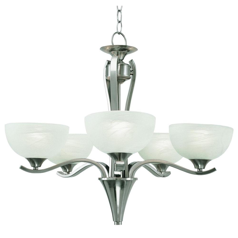 Bel Air Lighting 5 Light Pewter Chandelier With Polished Marbleized Glass Pl 7935 Ppw The Home Depot