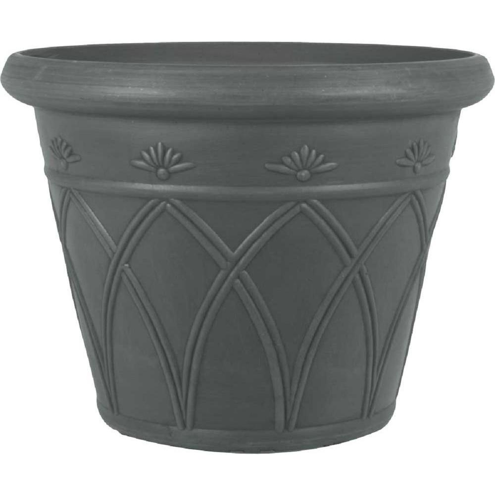12 in. Round Charcoal Arch Plastic Planter