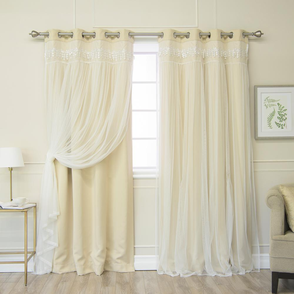 Beige 84 in. L Elis Lace Overlay Blackout Curtain Panel (2-Pack)