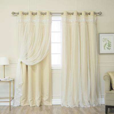 Beige 96 in. L Elis Lace Overlay Blackout Curtain Panel (2-Pack)