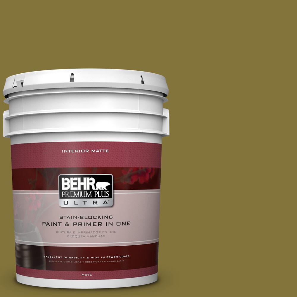 BEHR Premium Plus Ultra 5 gal. #390D-7 Marsh Grass Flat/Matte Interior Paint, Greens