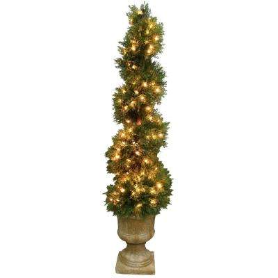 4.5 ft. Juniper Slim Spiral Tree with Decorative Urn with 150 Clear Lights