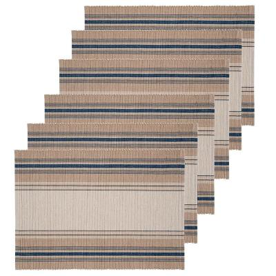 13 in. x 19 in. French Blue Stripes Cotton Placemat (Set of 6)