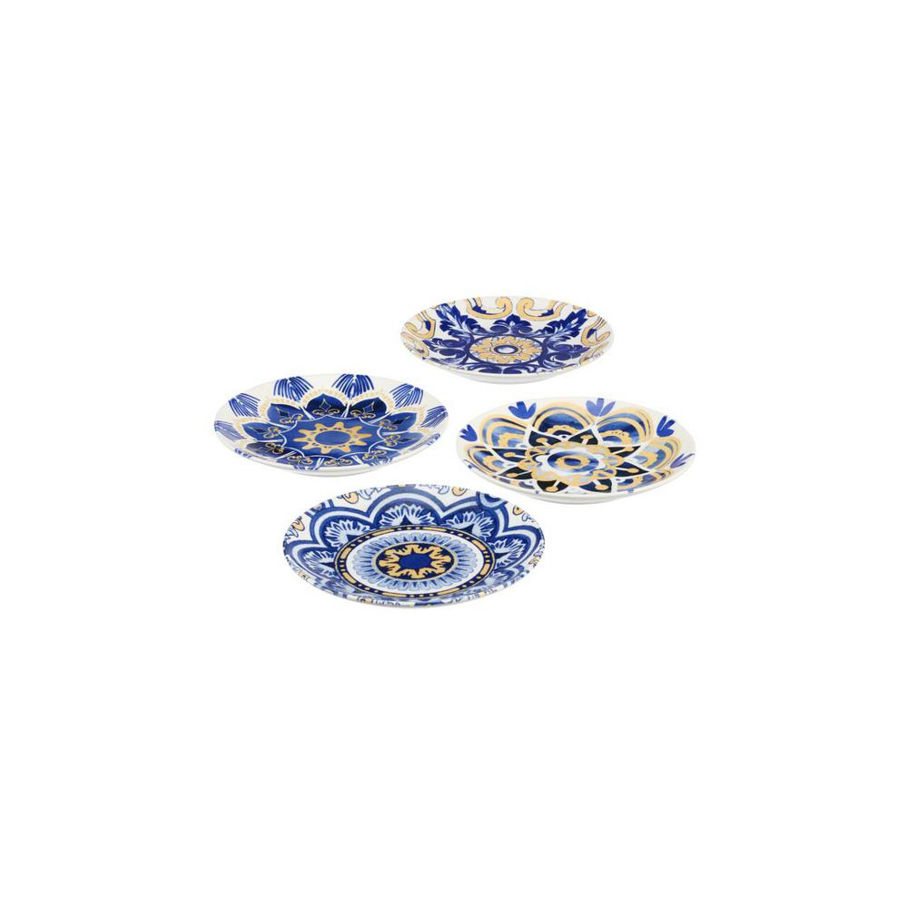 HomeDecoratorsCollection Home Decorators Collection Lisbon 4-Piece Twilight Blue and Mustard Yellow Salad Plate Set (Service for 4), Twilight and Mustard Seed