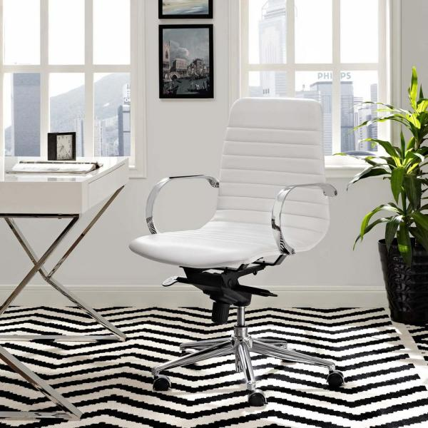 MODWAY Groove Ribbed Back Office Chair in White EEI-2859-WHI