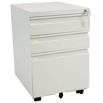 Rolling White File Cabinet with Lock and Handles