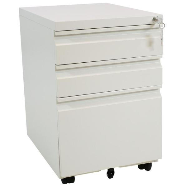 CASL Brands Rolling White File Cabinet with Lock and Handles KED-992