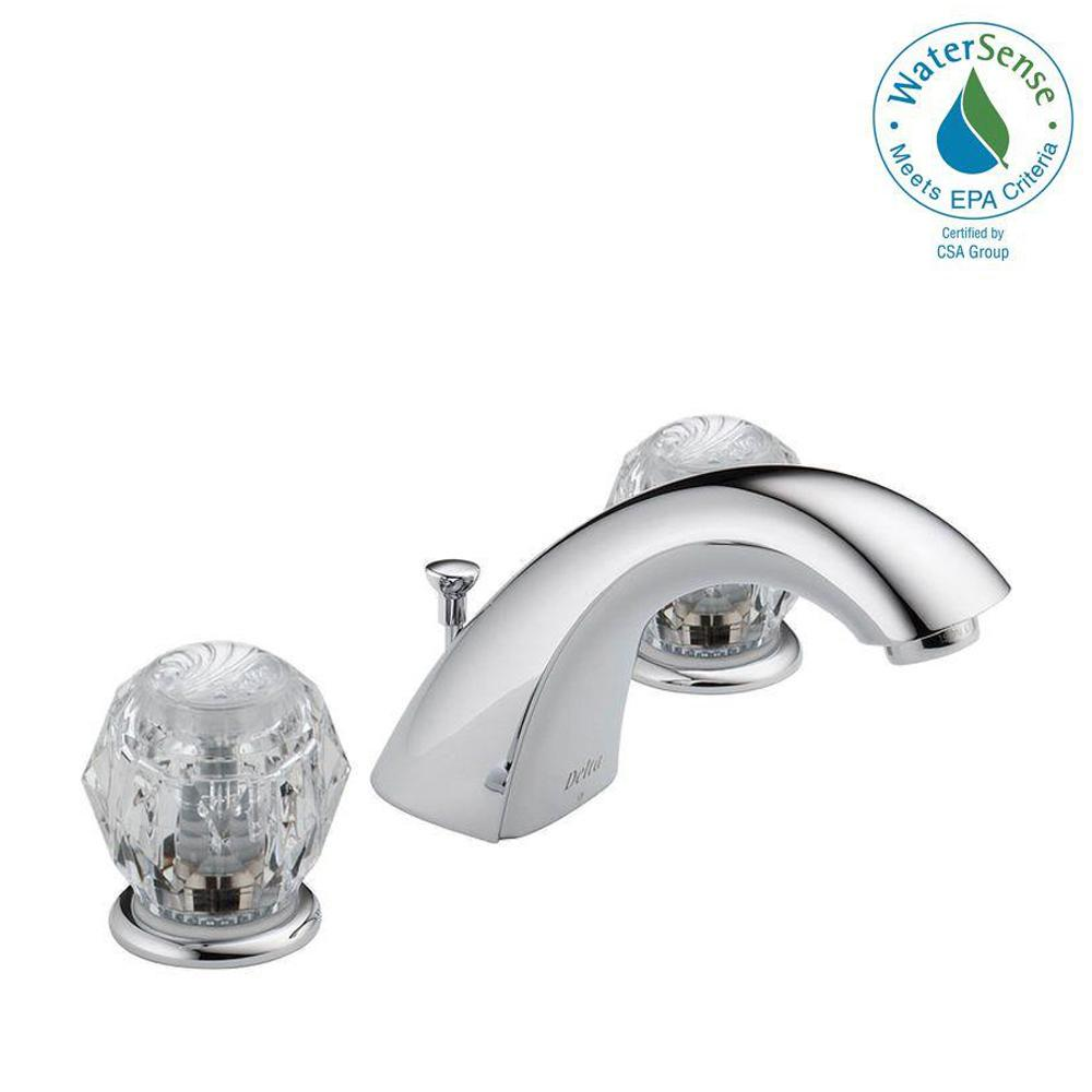 Delta Lahara 8 in. Widespread 2-Handle Bathroom Faucet with Metal ...