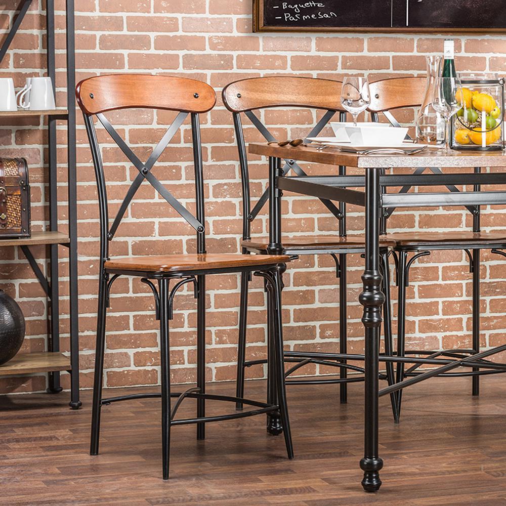 Baxton Studio Broxburn Light Brown Wood and Metal 2-Piece Counter Stool Set
