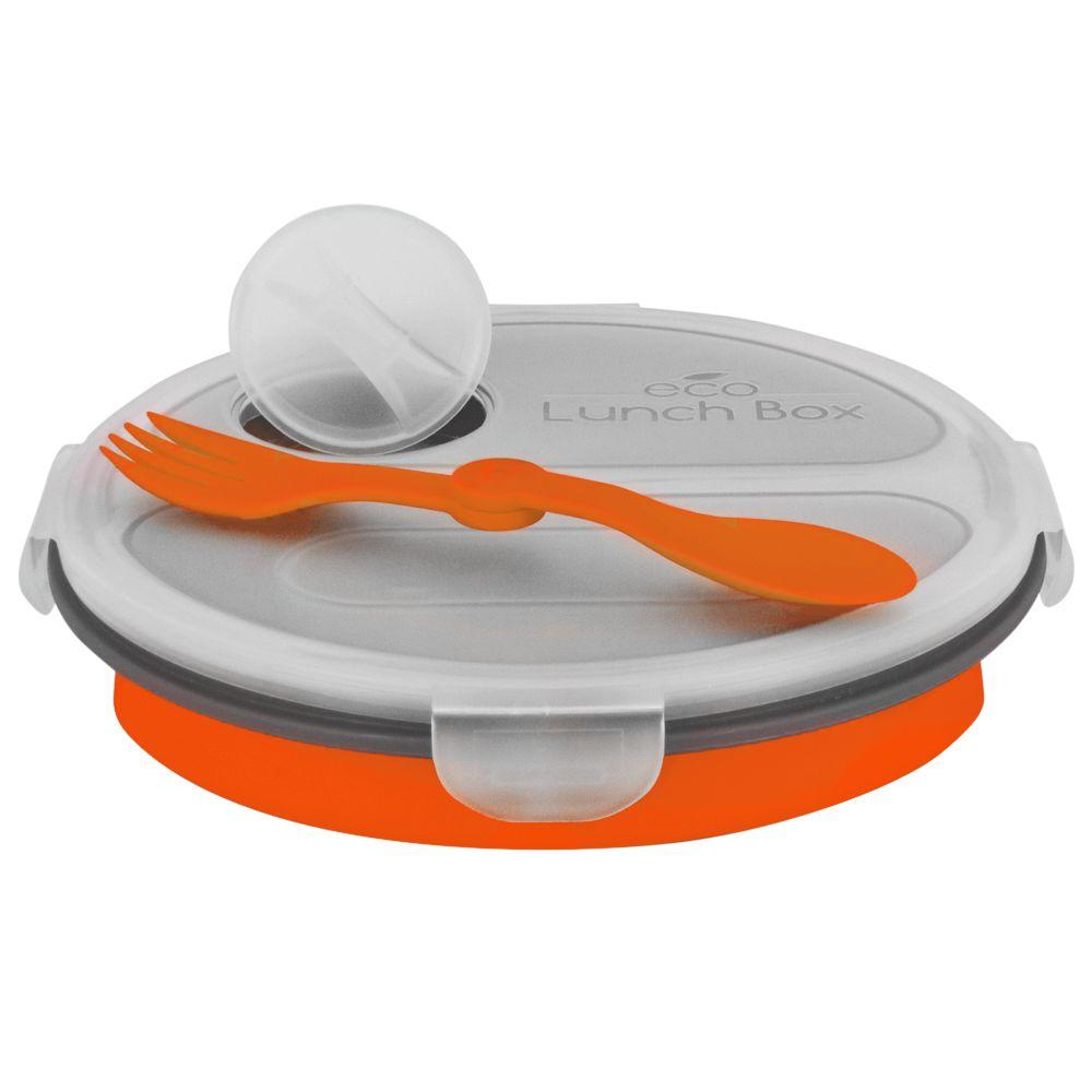 SmartPlanet 36 oz. Collapsible 2 Compartment Oval Eco Lunchbox Orange
