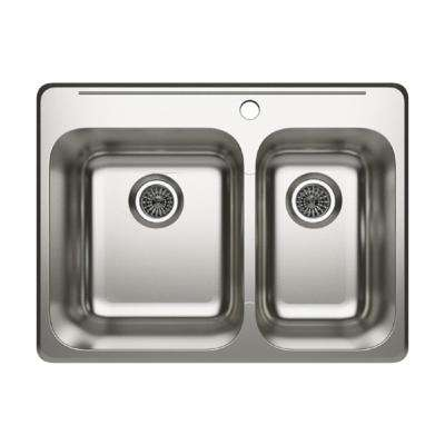 Cantrio Deck Mounted Drop-in Stainless Steel 27.25 in. 1-Hole Double Bowl Kitchen Sink