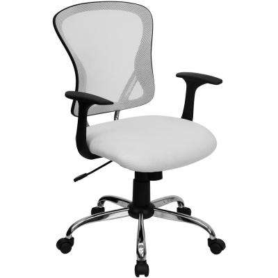 Merveilleux Mid Back White Mesh Swivel Task Chair With Chrome Base