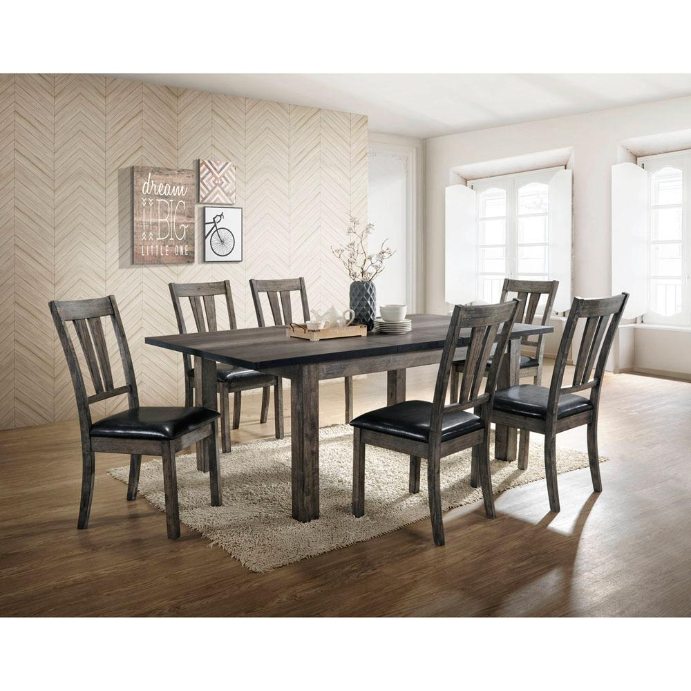 Gentil Cambridge Drexel 7 Piece Gray Dining Set With 6 Cushioned Chairs