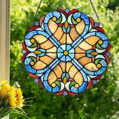Multi-Colored Stained Glass Halston Window Panel