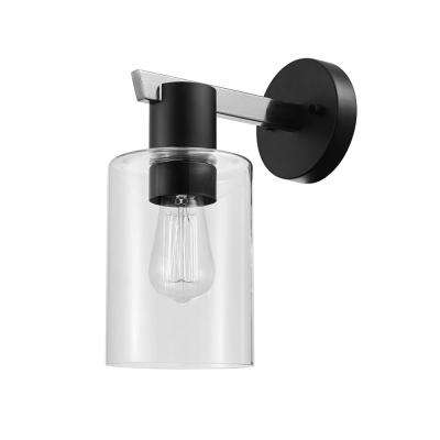 Crawford 1-Light Brushed Steel Wall Sconce with Clear Glass Shade