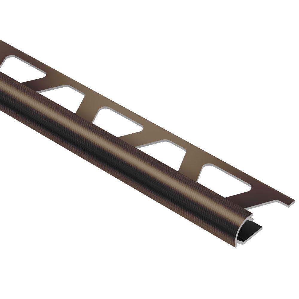 Rondec Brushed Antique Bronze Anodized Aluminum 3/8 in. x 8 ft. 2-1/2 in. Metal Bullnose Tile Edging Trim