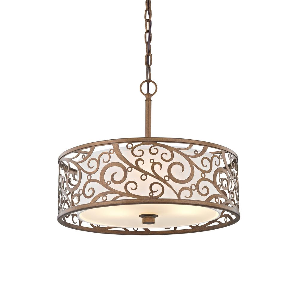 Carousel 3 Light Burnished Gold Pendant With Frosted Glass Diffuser