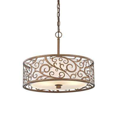 Carousel 3-Light Burnished Gold Pendant with Frosted Glass Diffuser