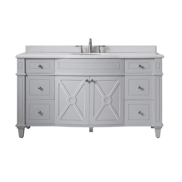 Bergeron 60 in. W x 22 in. d Bath Vanity in Dove Grey with Cultured Stone Vanity Top in White with White Basin