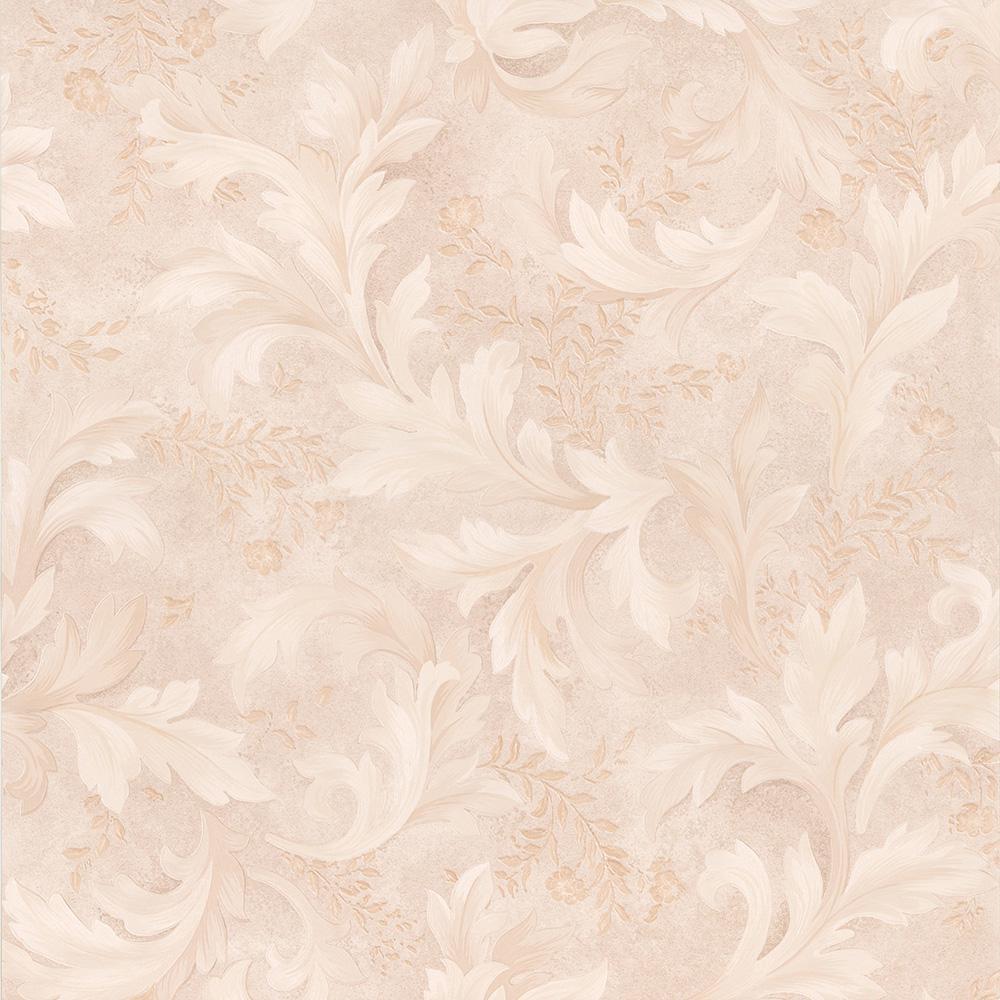 56.4 sq. ft. Olivias Beige Baroque Scroll Wallpaper