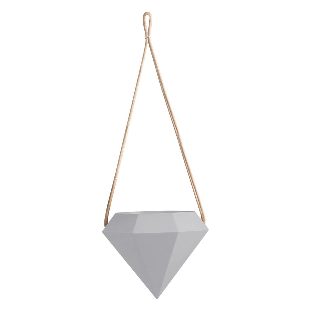 Diamond 4-1/2 in. x 4-1/2 in. Light Gray Ceramic Hanging Planter