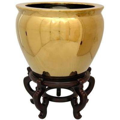 Oriental Furniture 12 in. Solid Gold Porcelain Fishbowl