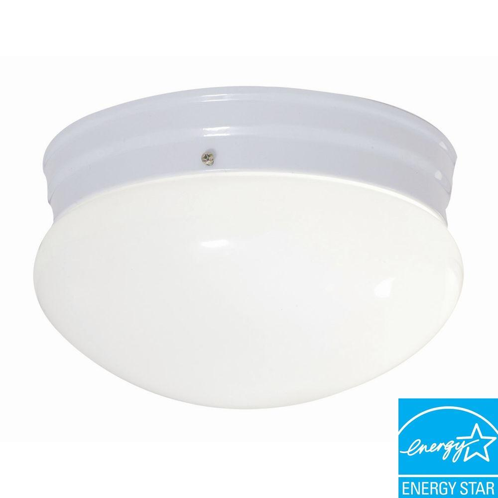 1-Light White Fluorescent Ceiling Mount Round Light