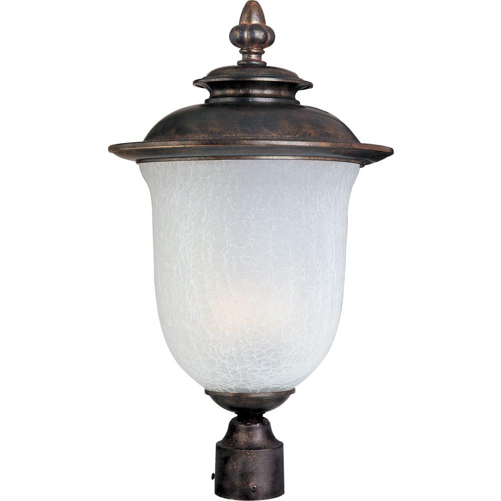 Maxim Lighting Cambria Cast 2-Light Outdoor Pole/Post Lantern Cambria Cast is a transitional style collection from Maxim Lighting International in Chocolate finish with Frost Crackle glass.