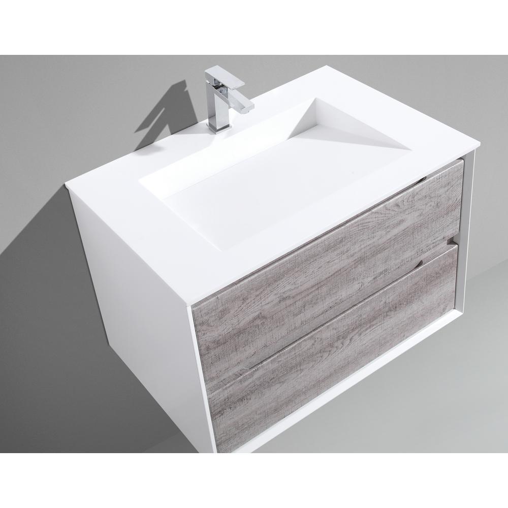 MTD Vanities Tahiti 30 in. W x 20 in. D x 20 in. H Floating Vanity in Grey Oak with Acrylic Top in White with White Infinity Basin